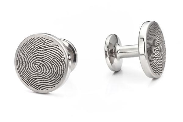 Round Titanium Fingerprint Cufflinks